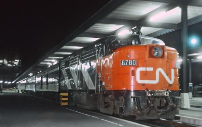 CN 6780 (FPA4) with Train 49, The Capital, at Ottawa, Ontario on July 4, 1971