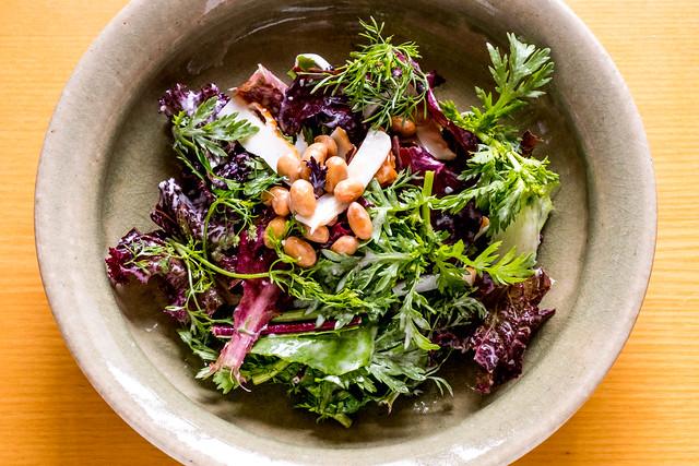organic green salad with NATTO & CHIKUWA (fish paste cake)