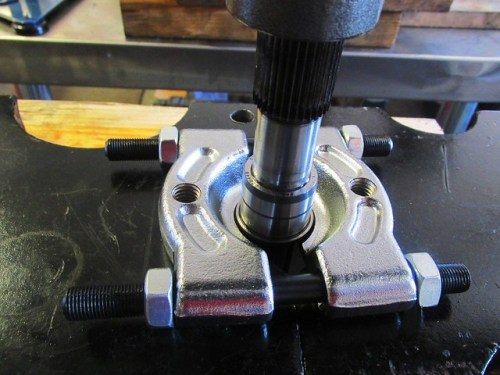 Pressing New Front Roller Bearing Inner Race on Input Shaft