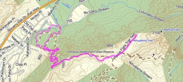 Nuuanu-Judd Trail Topo Map