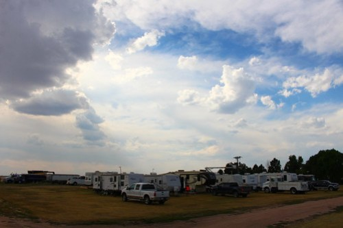 Campground full of harvesters.
