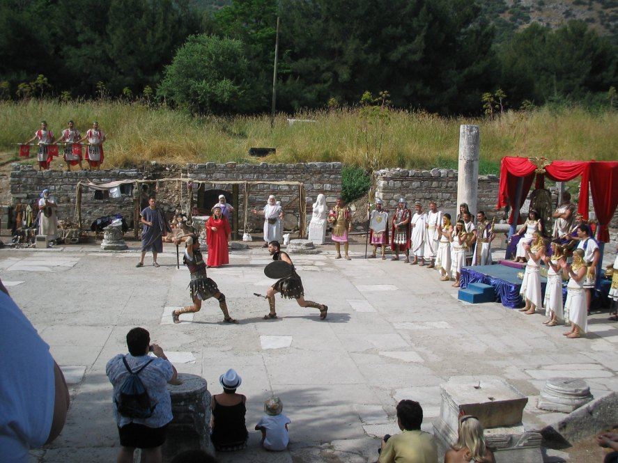 Mock gladitorial battles staged at Ephesus