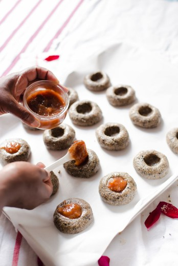 Black Sesame Thumbprint Cookies
