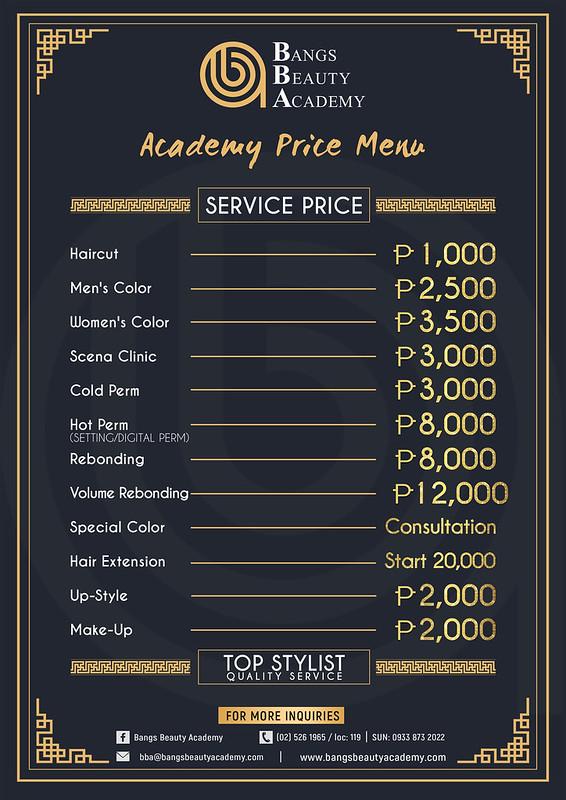 Academy Price Menu