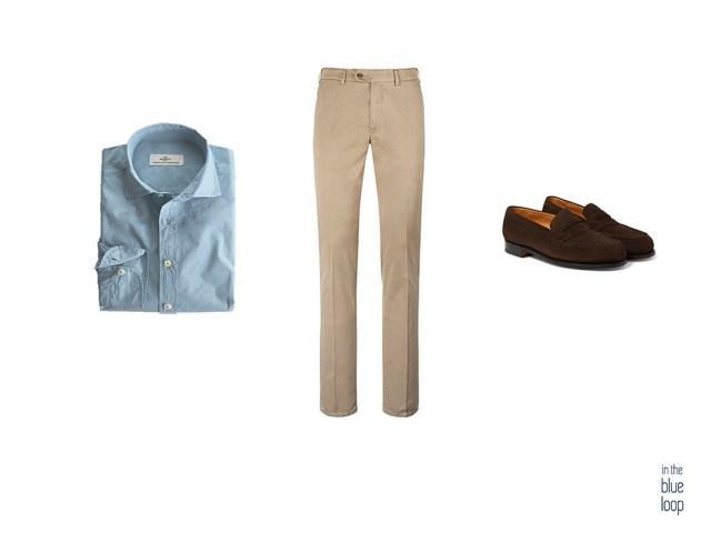 Look smart-casual con pantalones chinos, camisa azul para hombre y zapatos loafer