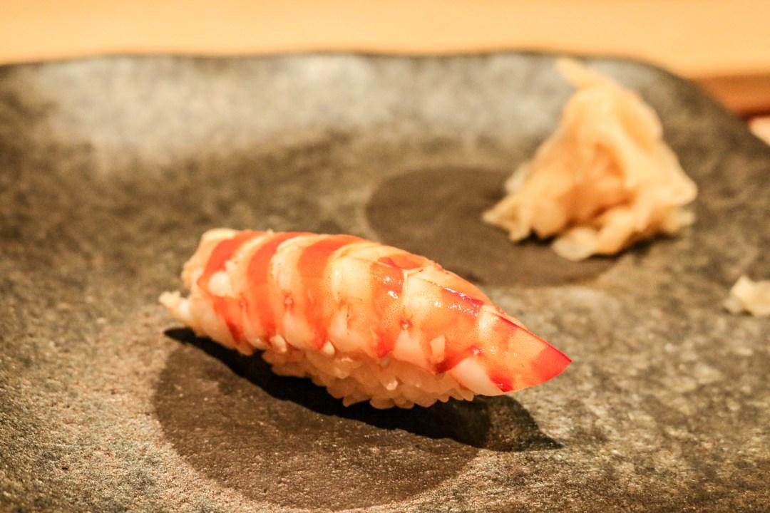Tiger prawn sushi at
