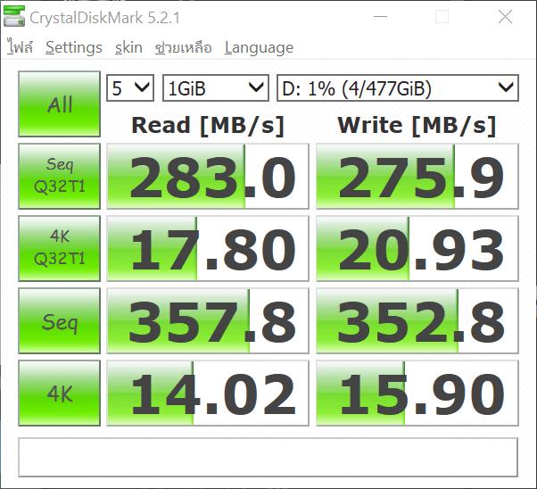ผลการวัดความเร็วด้วย CrystalDiskMark 5.2