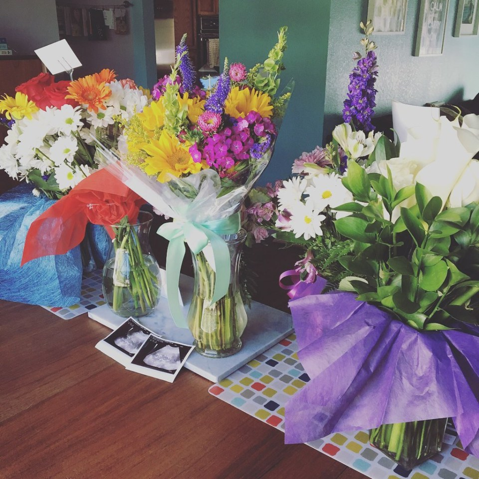 Flowers from family, friends, and work