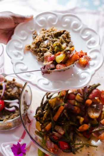 Smashed Lentils with Grilled Vegetables