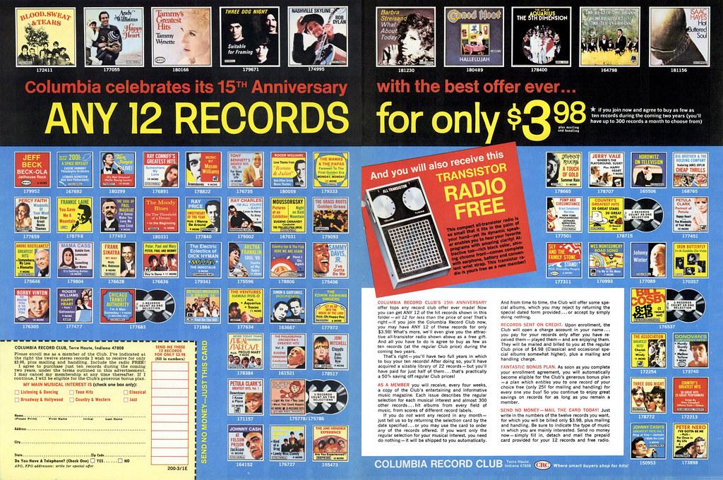 1970 Columbia Record Club's 15th Anniversary - Free Transistor Radio