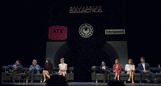 Ronald D. Moore, Edward James Olmos, Mary McDonnell, Katee Sackhoff, James Callis, Tricia Helfer, Grace Park and Michael Trucco