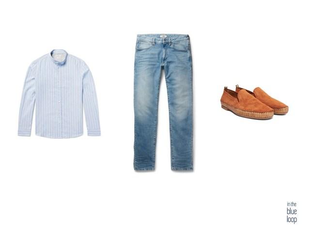 Look masculino casual con vaqueros para hombre, camisa azul cuello mao y zapatos loafer