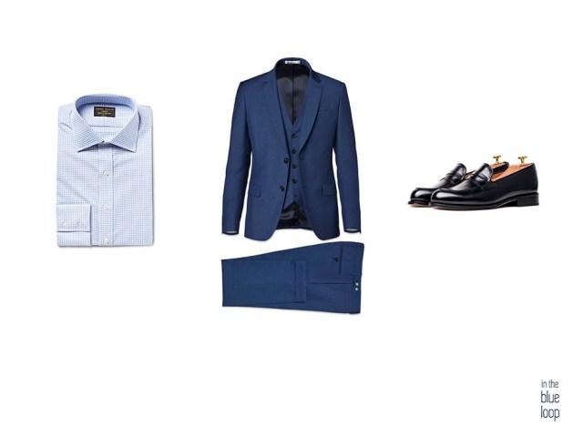 Traje para hombre 3 piezas con camisa azul masculina y zapatos loafer