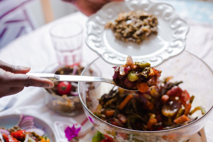 Smashed Lentils with Grilled Vegetables