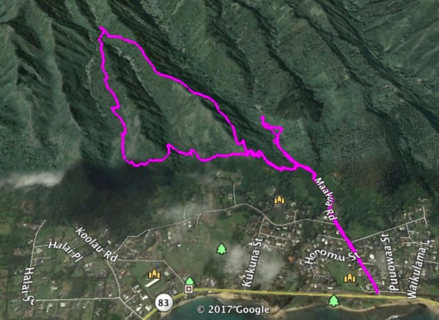 Makua Ridge Trail Google Earth