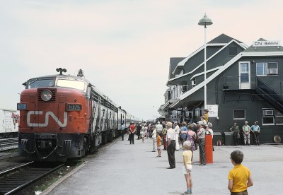 CN MLW FPA4 6775 with Train 51, the Lakeshore, arriving at Belleville, ON on July 4, 1971