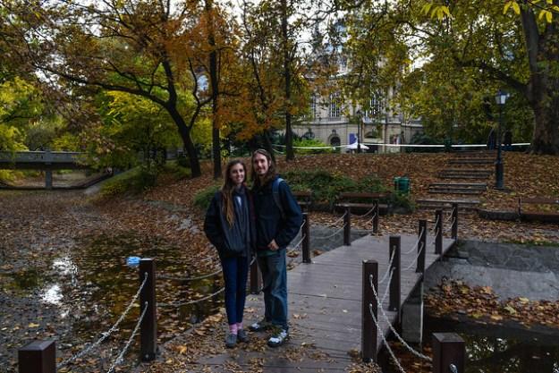 Kyle and Bri on Castle pond bridge