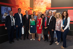 Jan Woerner shows French Parliamentary Group on Space Representative the ESA Pavilion