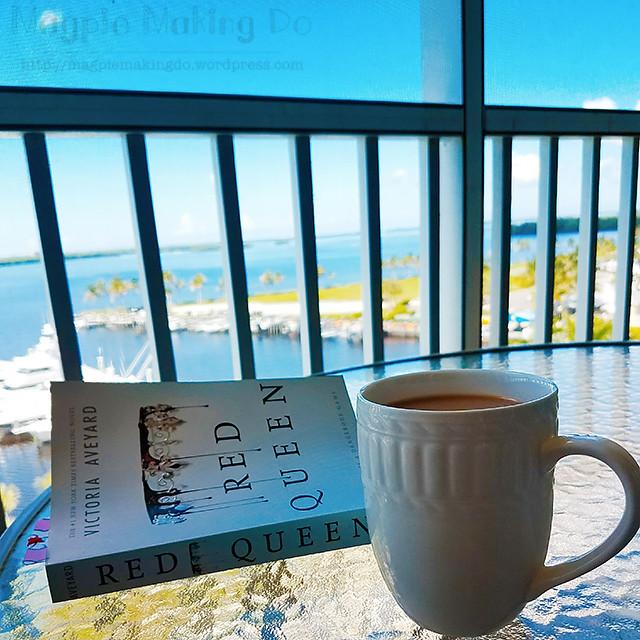 reading on balcony