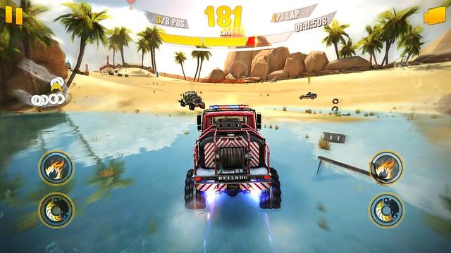 อย่างพื้นผิวที่เป็นน้ำนี่ ถ้าพวกรถบั๊กกี้ หรือ แรลลี่มา ความเร็วจะตก แต่รถบรรทุกหรือ Monster truck นี่ไม่มีปัญหา