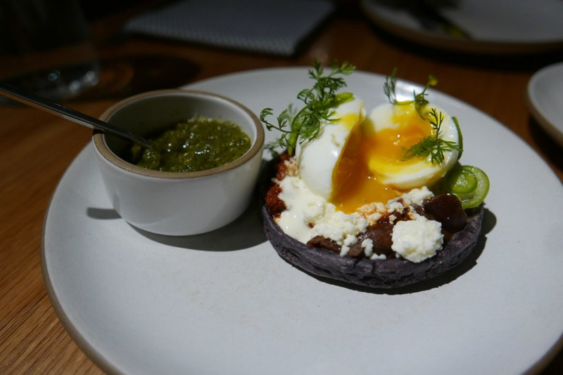 Egg Sope, Chorizo, Refried Black Beans, Mushrooms, Queso Fresco ($24)