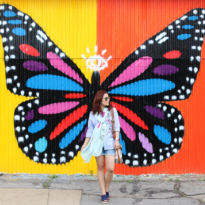 denim-shorts-button-down-shirt-butterfly-wall-7