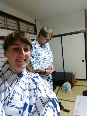 Attempting to wear yukatas to the public onsen...