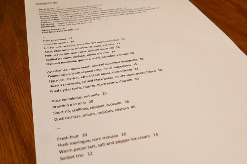 Cosme menu