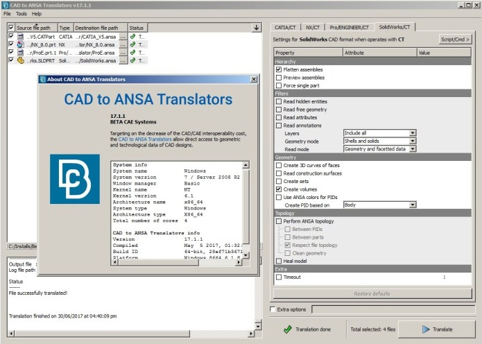 Working with BETA CAE CAD Translator 2017.1.1 full license