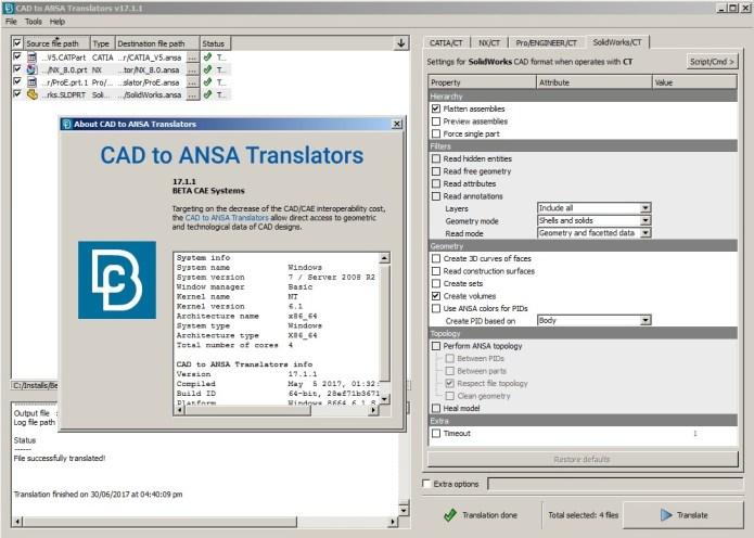 Working with BETA CAE CAD Translator 2017.1.1 full license