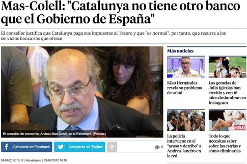 """12g24 Mas-Colell- """"Catalunya no tiene otro banco que el Gobierno de España"""" Uti 485"""