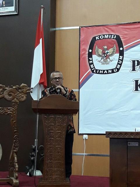 Arief Budiman saat membuka rakor Pemutakhiran Data Pemilih Berkelanjutan (14/7)