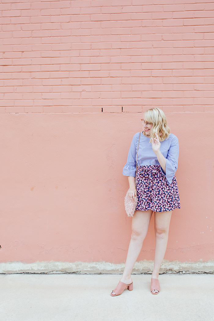 austin fashion blogger writes like a girl bell sleeves floral shorts1