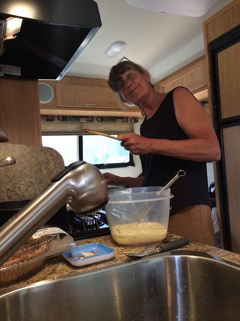 Linda making breafast