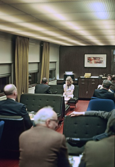 Interior of  4 dbl bdrm - lounge Cape Rosier on CN TRain 155, the International at Toronto, ONT. on April 3, 1970