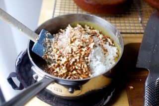 making the pecan-coconut custard