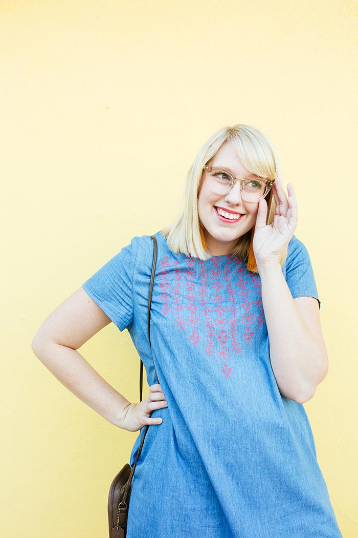 austin style blogger writes like a girl embroidered denim shift dress16