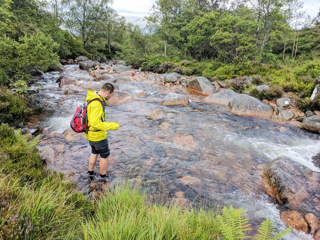 river crossing Carn Mor Dearg Arete Loop on Ben Nevis