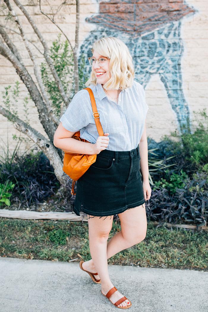 austin style blogger writes like a girl madewell denim skirt8