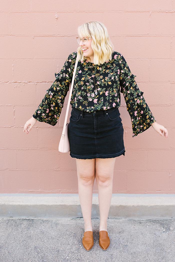 writes like a girl austin fashion blogger bell sleeves denim skirt9