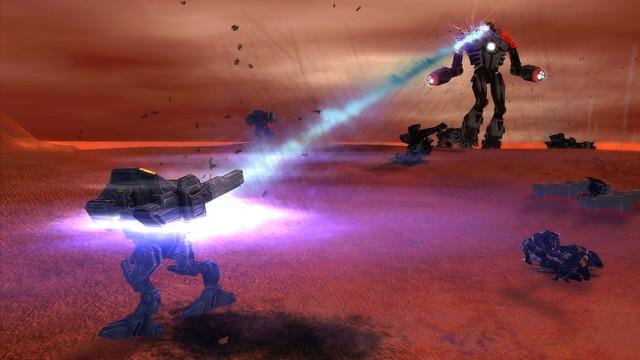 Osvětlení experimentálního útoku Bot spaluje svůj laser na UEF T3 Armored Assault Bot