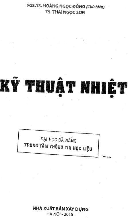 kỹ thuật nhiệt - Hoàng Ngọc Đồng - Thái Ngọc Sơn - 2015