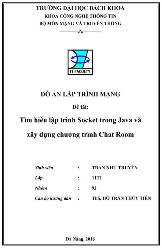 Đồ án lập trình mạng - lập trình Socket trong Java và xây dựng chương trình Chat Room