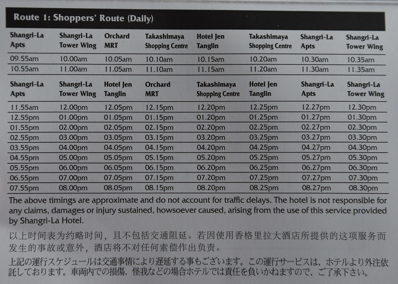 shuttle bus schedule shangri-la singapore