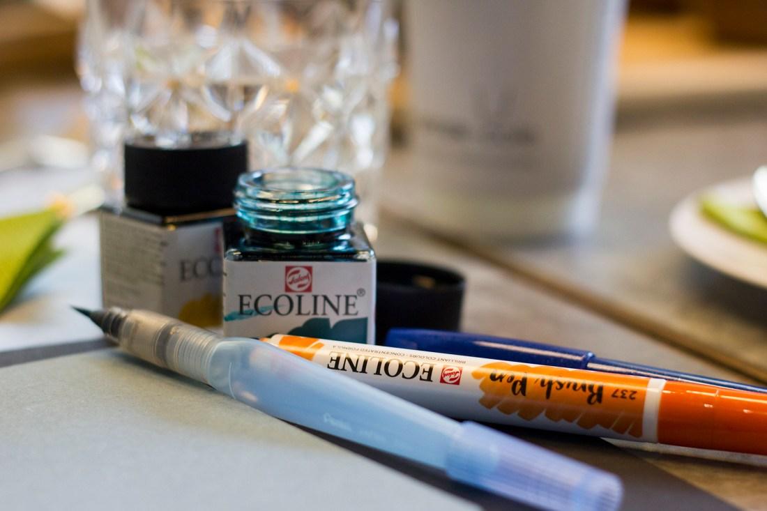 Ecoline Inks - Cult Pens - Brush Lettering Workshop Manchester