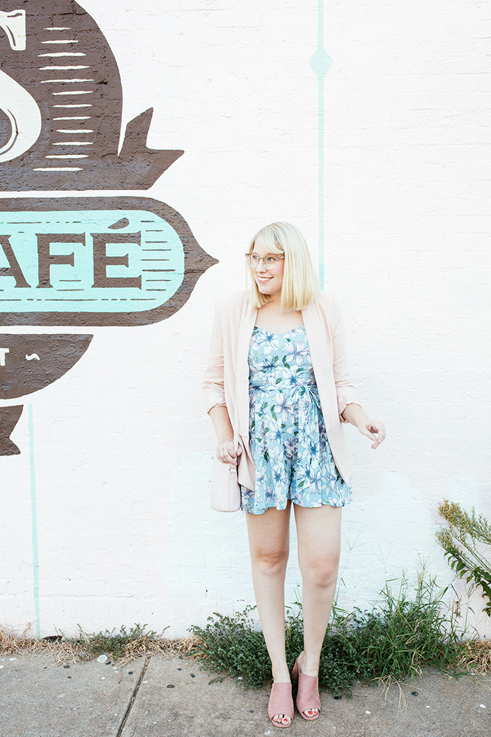 austin fashion blogger writes like a girl pastel floral romper blush blazer14