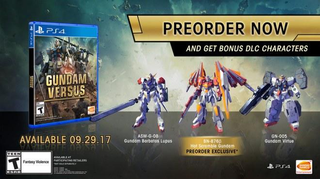 Gundam Versus Pre-order Bonuses