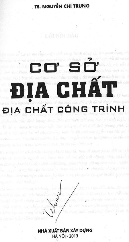 Sách giáo trình cơ sở địa chất - địa chất công trình - Nguyễn Chí Trung