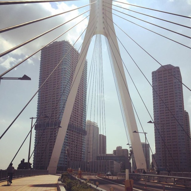 Chuo-Ohashi Bridge stretching towards Tsukudajima. #bridge #riverfront #riverside #tokyo #japantravel