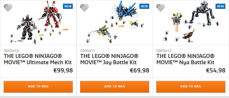 LEGO Ninjago Movie packs at shop@home